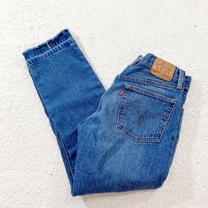 Levi's 501 button fly raw hem high rise ankle jean